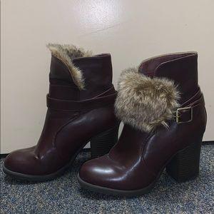 Used Charlotte Russe brown/purple winter booties.